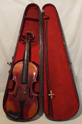 AS FOUND 1736 Strad Copy 4/4 violin with 2 bows one marked TONK w/ wooden case