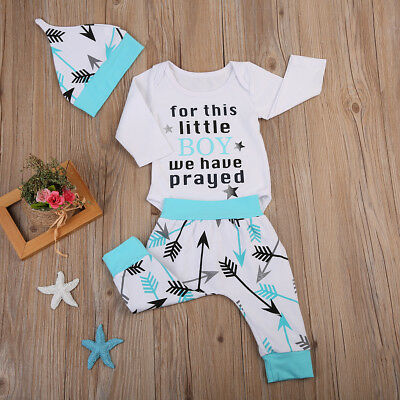 USA Newborn Kids Baby Boys Girls Romper Bodysuit Long Pants Hat Outfits Clothes