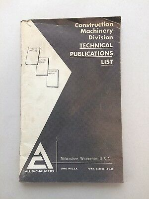 Allis Chalmers Construction Machinery Division Technical Publications List BB