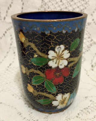 Vintage Cloisonne Enameled Brass Cup Floral Pen Holder Blue White Flowers