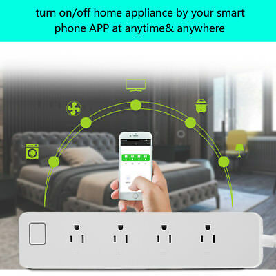 WiFi Home Smart Power Strip Outlet 4 Socket US Plug Voice & APP Remote Control S