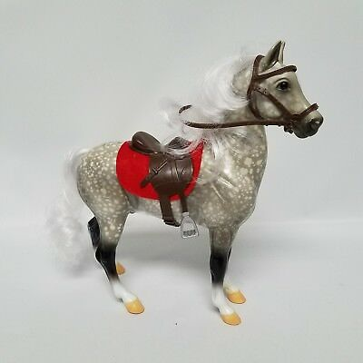 Breyer Reeves Ponies Dapple Grey Real Mane and Tail Grey and White with Saddle