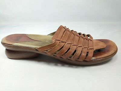 e5694fe9ab34 Dansko Sandals Womens Size 39 US 8.5 - 9 Brown Leather Slides Woven Casual  Shoes