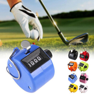 1x Chrome Hand Held Tally Counter Manual Counting 4 Digit Number Golf Clicker