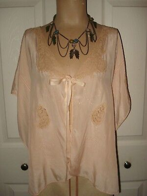 VINTAGE 1920's -1930's Womans Peach Silk Lace Shrug Boudior Bed Jacket SZ S to L