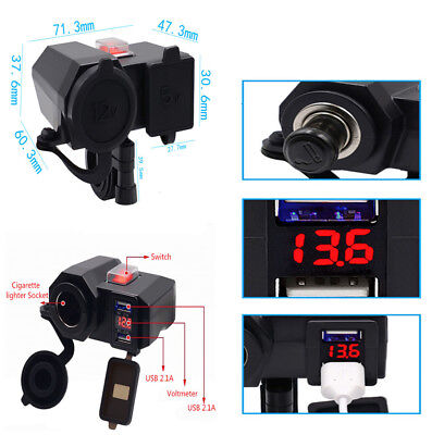 Durable Multi-function Motorcycle USB Charger Cigarette Ligher Socket+Voltmeter