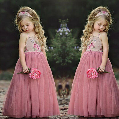 Flower Girl Lace Long Tutu Dress Kid Baby Party Pageant Wedding Bridesmaid Dress