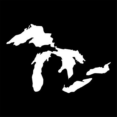 Michigan Great Lakes State Map Decal Window Wall Stickers Car Truck Vinly White