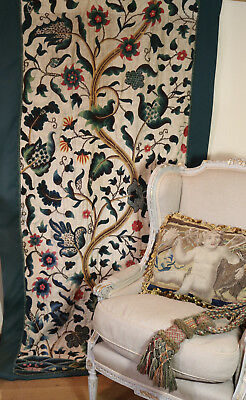 18th Century English Embroidered Jacobean Crewelwork Hanging  Tree of Life