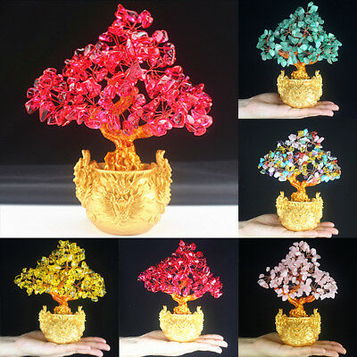 Feng Shui Money Lucky Rich Tree Craft Natural Crystal Office Home Room Decor New