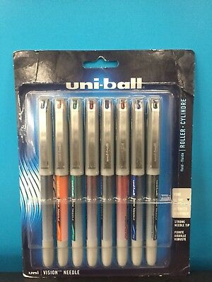Uniball Vision Needle, 8 Pack Assorted, Fine Tip 0.7mm Pens, (Brand New)