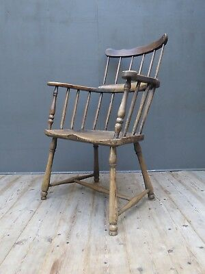Early Antique 18th Century Windsor Comb Back Chair Vintage Primitive