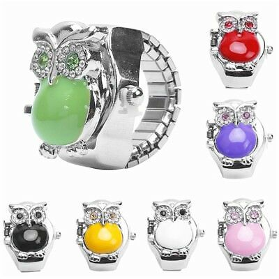 Women Dial Quartz Analog Finger Ring Watch Retro Owl Elastic Creative Gift Steel