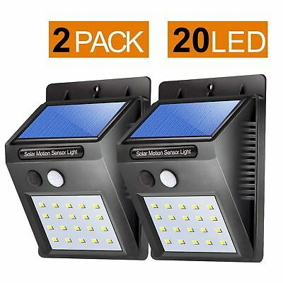 38 LED Solar Powered PIR Motion Sensor Wall Security Light Lamp Garden Outdoor