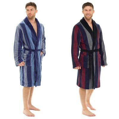 Mens Bold Multi Stripe Pattern Thick Fleece Collared Dressing Gown Bath Robe 218dad0cc