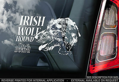 Irish Wolfhound - Car Window Sticker - Wolf Dog on Board Hound Sign Gift - TYP2