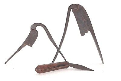 Old Vintage Antique Iron Knife & Nut Cutter Set of 3 Collectible P-26