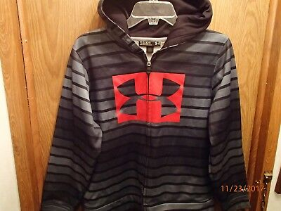 Youth Under Armour Storm  Blue Black Striped Full Zip Hoodie Sweatshirt Size Ylg