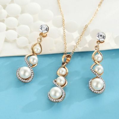 Pearl Women Pendant Crystal Gold Plated Necklace Jewelry Set Stud Earrings