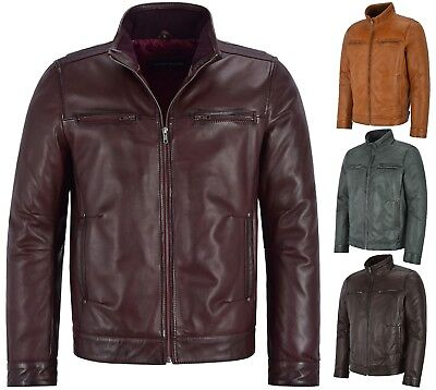 Mens Classic Leather Jacket Italian Fitted Classic Collar REAL SOFT LEATHER 999