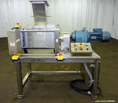 """Used- Roll Compactor, Stainless Steel. Grooved Rolls, Approximate 8"""" Face x 7"""" D"""