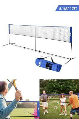 Professional Badminton Net 17ft Outdoor Yard Sports Tennis Volleyball Net 3 In 1