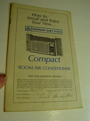 1983 Emerson Quiet Kool Compact Room Air Conditioner Instruction Booklet