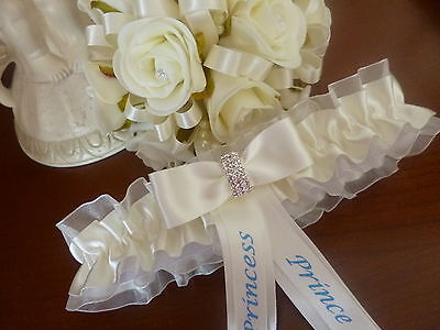 "Bn Personalised Wedding/hen Garter Choice Of Colour Ex-Large Garter Fits 26""-29"""