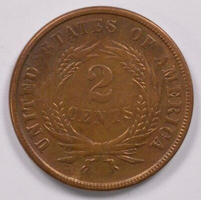 2c 1865 Two Cent Piece Struck Thru Reverse XF Cleaned