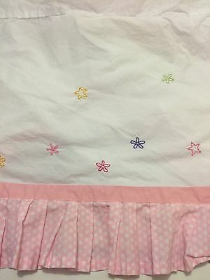 POTTERY BARN kids Crib Skirt Embroidered Flowers Pink Polkadots garden girls
