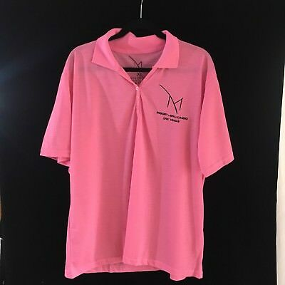 M Resort Casino Las Vegas Men's Size XL Short Sleeve New Golf Pink Polo