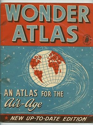 """Atlas book from the late 1950's or early 1960's UK """"Atlas for the Air Age"""" World"""