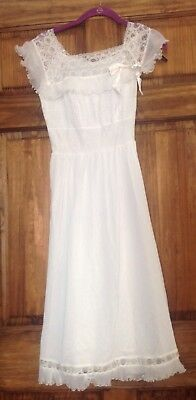 Vintage White Lace Nightgown NOS NWT Arnel Canadian Maid By Toronto Petticoat S