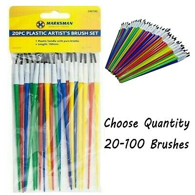 100 pcs Assorted Kids Paint Brush Set Craft Painting Activity School Disposable