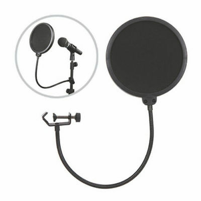 Dual Layer Microphone Filter Recording Studio Wind Screen Pop Mask Shield UK
