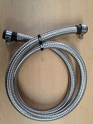 1/4-6MM Stainless Steel Braided Fuel Hose Pipe 1 Metre + Rubber Ends & Clips
