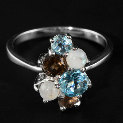 Natural 6Mm Sky Blue Topaz Smoky Quartz Moonstone Rare Silver 925 Ring Size 8