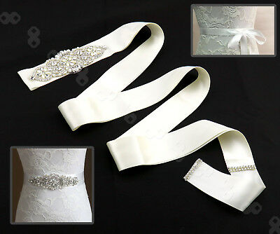 Bridal Wedding Dress Belt Bride Sash Crystal Sparkle Rhinestones Ribbon Ivory