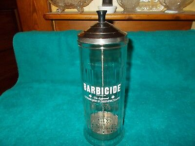 VINTAGE GLASS BARBICIDE GERMICIDE DISINFECTANT JAR ~ King Research Inc.~NICE!