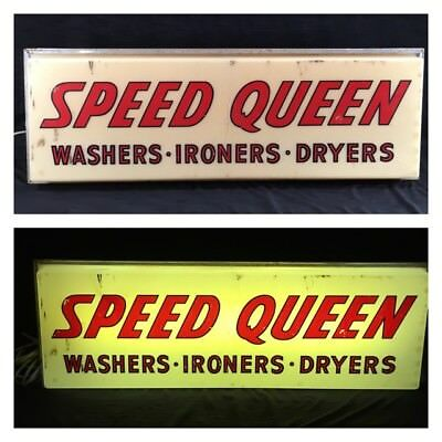 VTG Speed Queen Washers Dryers Ironers Fluorescent Lighted Counter or Wall Sign
