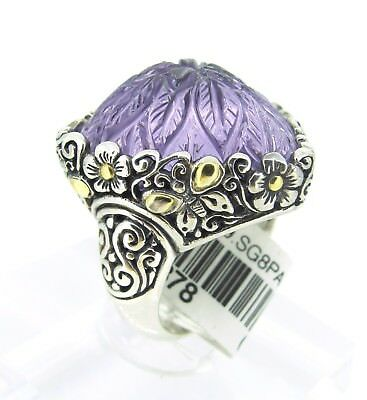 18k Yellow Gold & Sterling Silver AMETHYST Hand Carved February Stone Ring 6.25