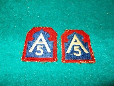 2 WWII US MILITARY 5th Army Patches