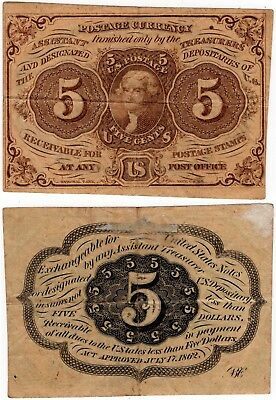 1862 5 Cents FRACTIONAL 1st Issue Jefferson FR.1230 5¢ No Reserve!