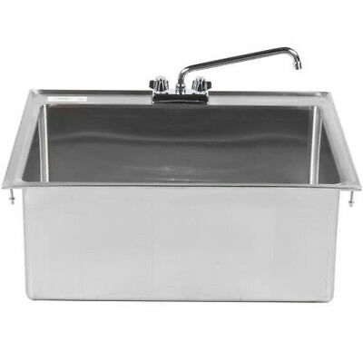 "One Compartment w FAUCET 28"" x 20"" x 12"" Stainless Steel Drop In Sink Commercial"