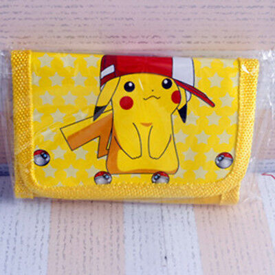 Cute Pokemon Pikachu Boys Wallet  Kids Coin Cartoon Trifold Zip Bags Party Gift