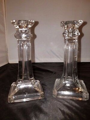 Pair Of Vintage Square Column Crystal Candle Stick Holders