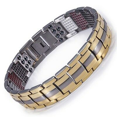 Double Strength 4 Elements PURE Titanium Magnetic Therapy Bracelet Pain Relief