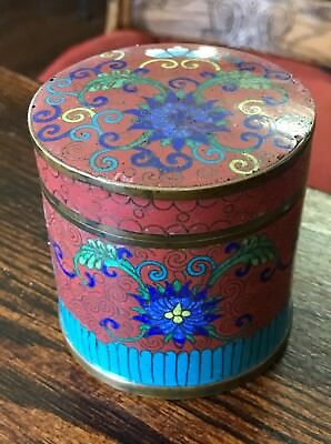 Antique Chinese Cloisonne Tea Caddy Tobacco Jar Red With Lotus Flower