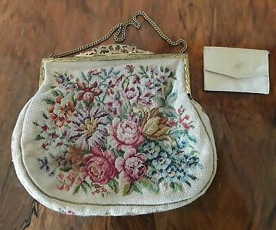 Gobelin, Damentasche , Blumen, petit point Stickerei, Austria, gemarkt,  N.B.M