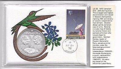 Jamaica $10 1972 coin commemorates 10th anniv of Independence from GB silver